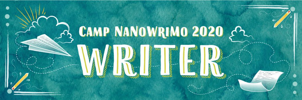 Blue and Green banner saying Camp Nanowrimo 2020 writer
